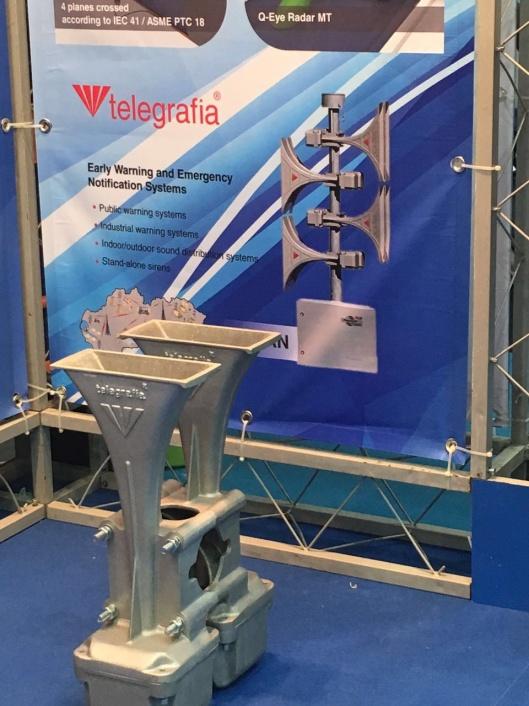 El fabricante de sirenas Telegrafia en la feria Asiawater 2016 de Kuala Lumpur