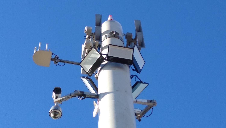 Sistema de megafonía y alerta en el Puerto de Napier, Hawke's Bay, Nueva Zelanda